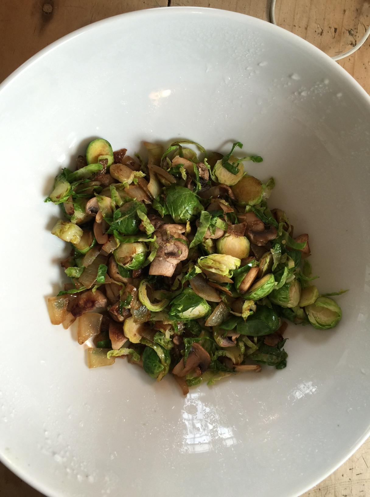Stir fried Brussels sprouts mushroom and onions